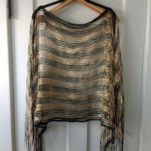 Unique gold & black poncho
